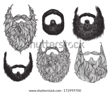 Hand Drawn Beard Set - stock vector