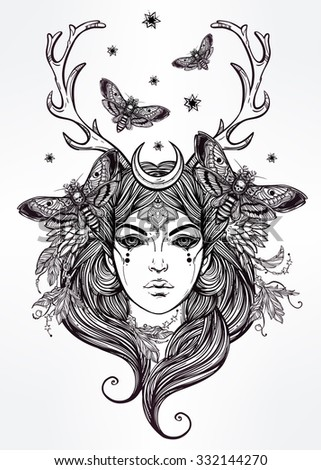 Hand drawn beautiful artwork of Banshee portriat - a female spirit in Irish mythology. Alchemy, religion, spirituality, occultism, tattoo art, coloring books. Isolated vector illustration. - stock vector