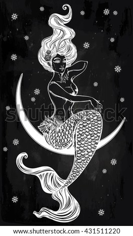 Hand drawn beautiful artwork of beautiful mermaid sitting in the moon. Sea, fantasy, spirituality, mythology, tattoo art, coloring books. Isolated vector illustration. - stock vector