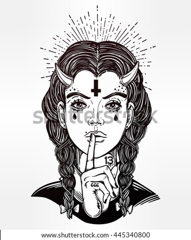 Hand drawn beautiful artwork of female demon portriat. Mystic diety. Alchemy, religion, spirituality, occultism, tattoo art,. Isolated vector illustration. Fantasy, coloring books, prints.