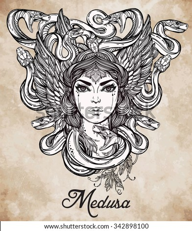 Hand drawn beautiful artwork of Medusa portriat - a female serpent spirit in Greek mythology. Alchemy, religion, spirituality, occultism, tattoo art, coloring books. Isolated vector illustration. - stock vector