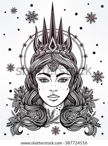 Hand Drawn Beautiful Artwork The Northern Queen Portrait Winter Fantasy Spirituality Tarot