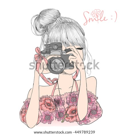 Hand Drawn Beautiful Cute Girl Floral Stock Vector
