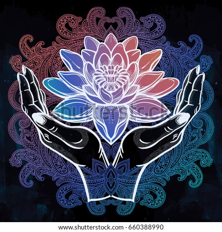 Hand drawn beautiful lotus flower hands stock vector 660388990 hand drawn beautiful lotus flower in hands water lily motif spiritual art for tattoo mightylinksfo