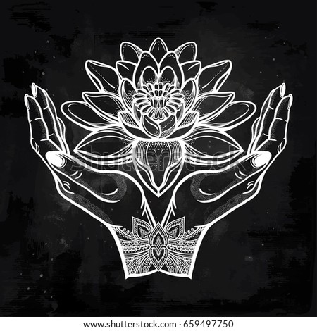 Hand drawn beautiful lotus flower hands stock vector 659497750 hand drawn beautiful lotus flower in hands water lily motif spiritual art for tattoo mightylinksfo