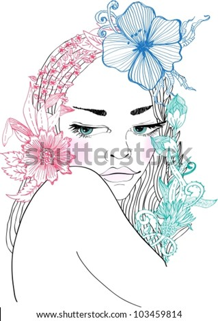 Hand Drawn Beautiful woman with flowers in hair, beautiful colorful vector illustration - stock vector