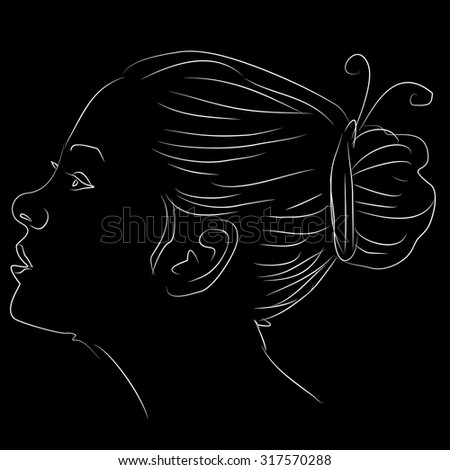 hand drawn beauty woman face - stock vector