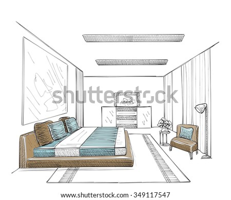Furniture sketch stock images royalty free images for Bedroom designs sketch