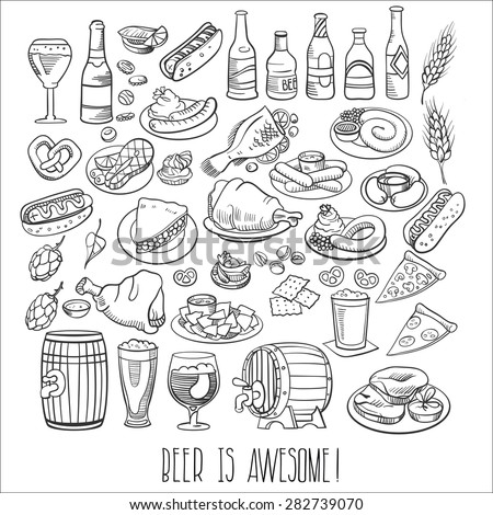 hand drawn beer bottles and bar food - stock vector