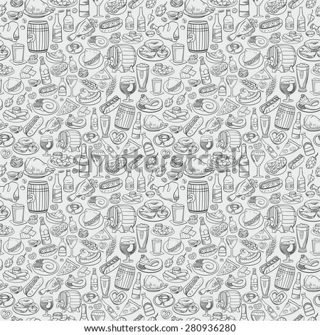 hand drawn beer bottles and bar food, seamless background - stock vector