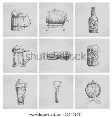 Hand drawn beer icon set. Vector - stock vector