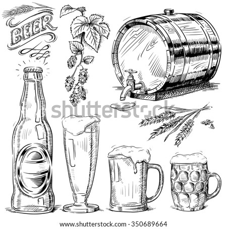 hand drawn beer set - stock vector