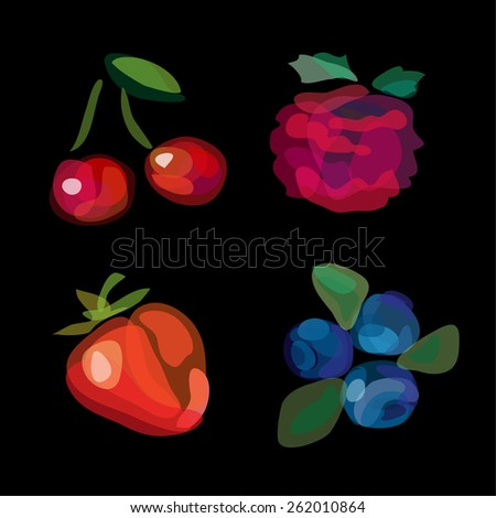 Hand drawn berries: cherry, raspberry, strawberry, blueberry. Vegetables vector illustration, doodle design. Watercolor imitation. Cute fruit background. Hand drawn berry icons. - stock vector