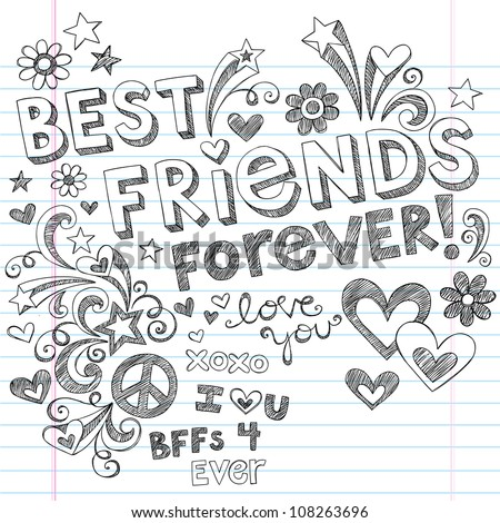 Hand Drawn Best Friends Forever Love Hearts Sketchy Back To School Style Notebook Doodles