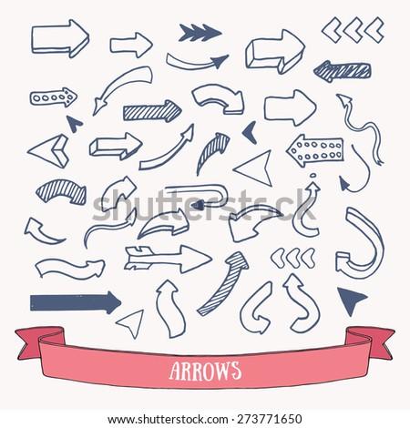 Hand drawn big arrows: vector set. - stock vector