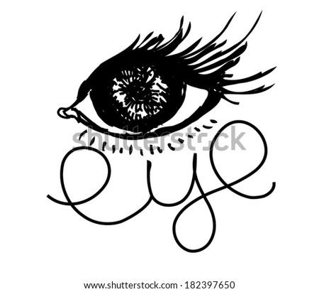 hand drawn big eye Vector illustration  - stock vector