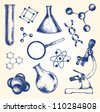 Hand drawn Biology and chemistry - stock vector