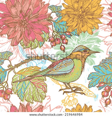 Hand drawn bird , dahlia flowers and autumn berries  retro seamless pattern.  All objects are conveniently grouped  and are easily editable. - stock vector