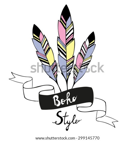 Hand drawn bird feathers with ribbon in boho style. Vector illustration - stock vector