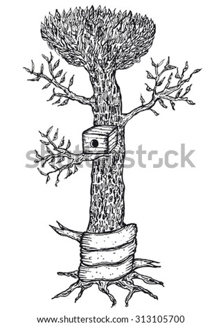 Hand drawn bird house in a tree with blank banner/ Illustration of a hand drawn bird house in a tree with blank banner