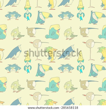 Hand Drawn Birds Seamless Background for design and scrapbook in vector. Funny colorful cartoon cute birds pattern.  - stock vector