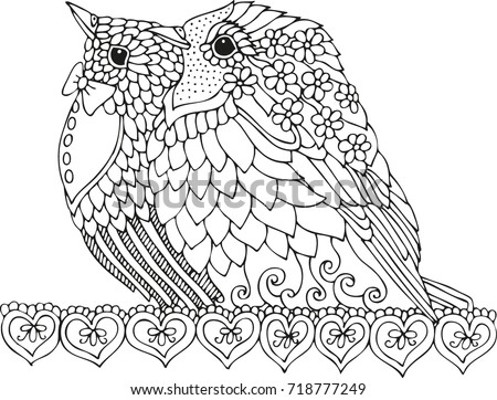 Hand Drawn Birds Sketch Antistress Adult Stock Vector 718777249 ...