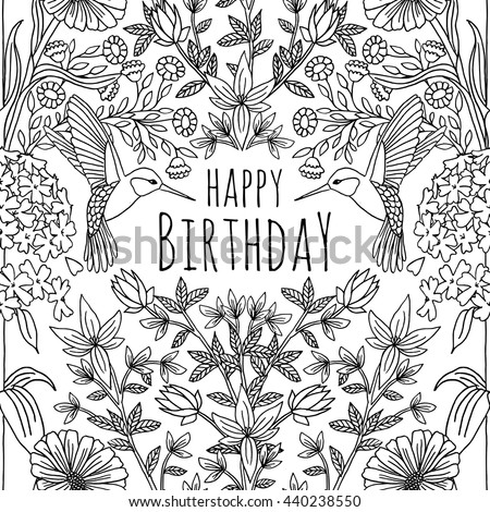 Hand Drawn Birthday Card Design Humming Stock Vector Hd Royalty