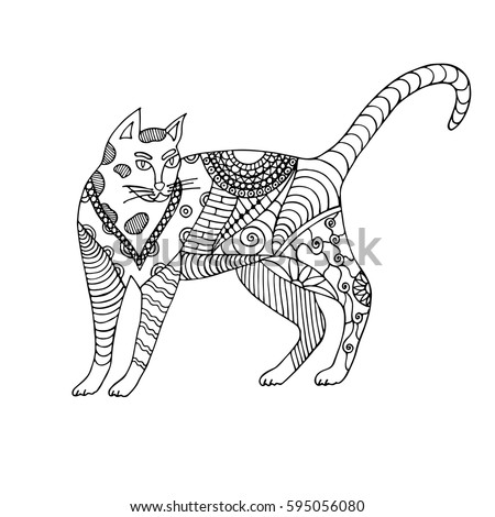 Hand Drawn Black And White Cat Vector Illustration Handdrawn Zentangle Animal For Coloring Book