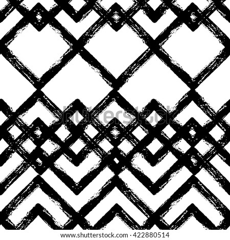 Hand drawn black and white ink abstract ZigZag striped seamless pattern. Vector grunge texture. Monochrome paint brush smears on white background.   - stock vector