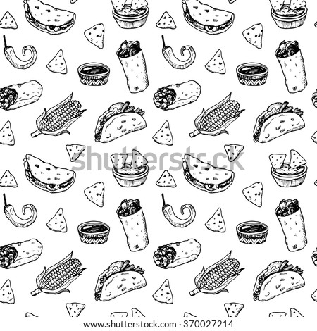 Hand drawn black and white sketch Mexican food seamless background. - stock vector