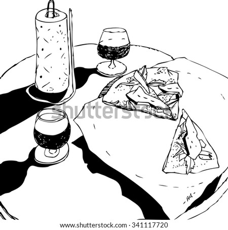 hand drawn black and white still life with drinks and pizza vector. Sketchy interior of cozy italian pizzeria - stock vector