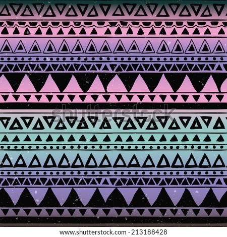 Hand Drawn Black Aztec Tribal Seamless Background Pattern on Colorful Background - stock vector