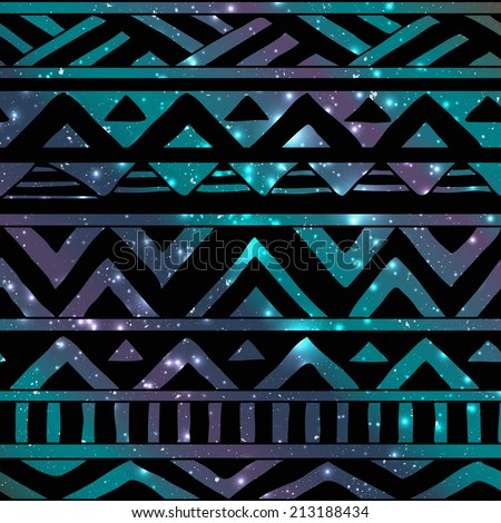 Hand Drawn Black Aztec Tribal Seamless Background Pattern on Cosmic Background - stock vector