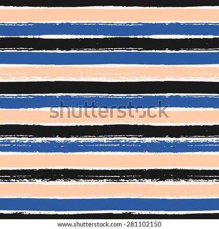 Hand drawn black, blue and pastel pink stripes seamless pattern. Dry brush horizontal strokes repeat texture. - stock vector