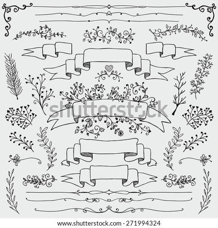 Hand Drawn Black Doodle Design Elements. Decorative Floral Banners, Dividers, Branches, Ribbons. Vintage Vector Illustration. - stock vector