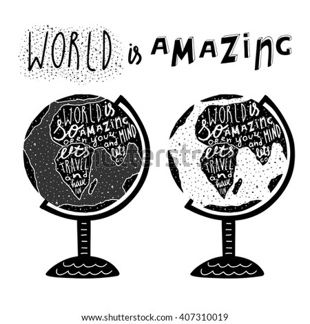 Hand drawn black globe logo lettering vector de stock407310019 hand drawn black globe logo with lettering quotes lets travel and have fun postcard gumiabroncs Images