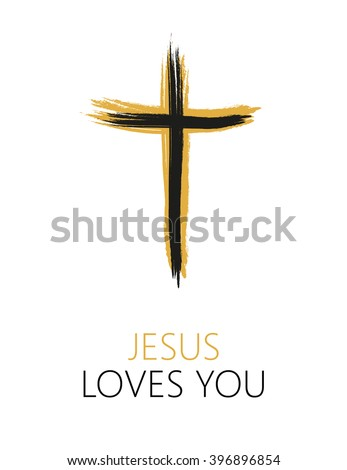 Hand drawn black grunge cross icon with text Jesus Loves you. Christian cross sign, hand-painted cross symbol created with real ink brush isolated on white background. - stock vector