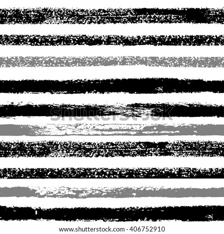 Hand drawn black ink abstract stripe seamless pattern. Vector grunge texture. Monochrome paint brush smears on white background.