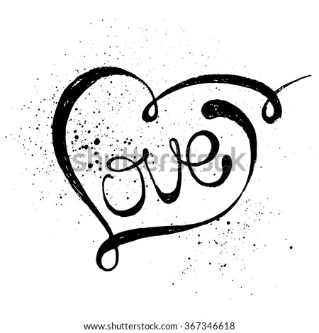 Hand drawn black lettering print. Love in a heart. - stock vector