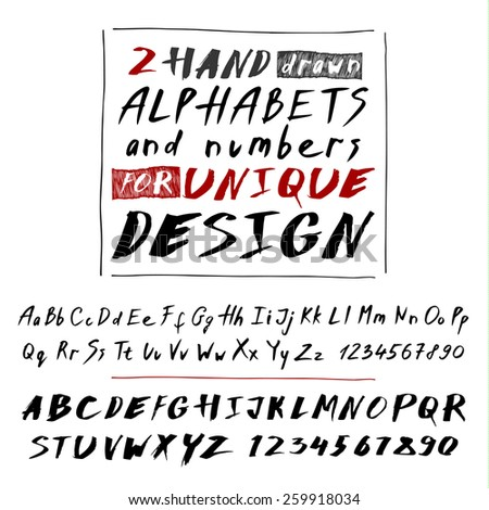 Hand drawn black letters and numbers on white background. Vector set - stock vector