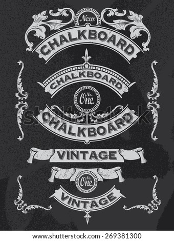 Hand drawn blackboard banner and ribbon vector illustration with texture added. Black chalkboard background. Label and artwork decoration. Set of calligraphic elements, frames, vintage labels. - stock vector