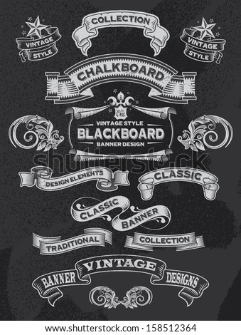 Hand drawn blackboard banner vector illustration with texture added - stock vector
