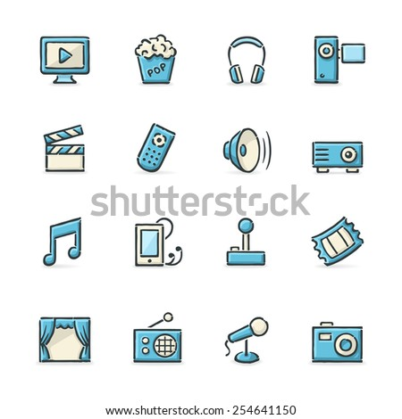 Hand drawn blue and beige school and education icons. File format is EPS8. - stock vector