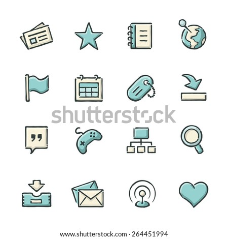 Hand drawn blue and beige social network icons. File format is EPS8. - stock vector