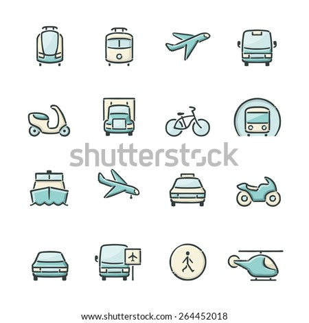 Hand drawn blue and beige transport icons. File format is EPS8. - stock vector