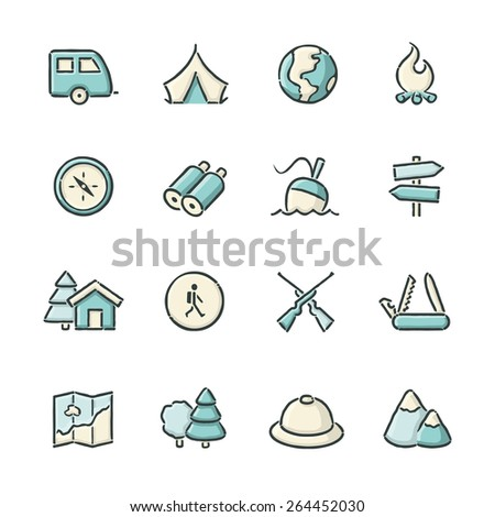 Hand drawn blue and beige wildlife and camping icons. File format is EPS8.