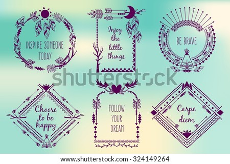 Hand drawn boho style frames with place for your text. Arrow and feather and horns, art vector illustration - stock vector