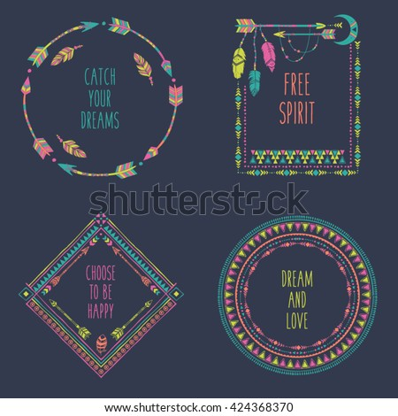Hand drawn boho style frames with place for your text. Arrow and feather art vector illustration - stock vector