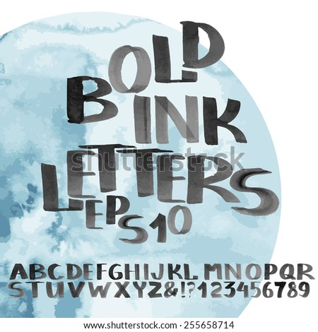 Hand drawn bold ink alphabet. Letters and numerals. Vector font - stock vector