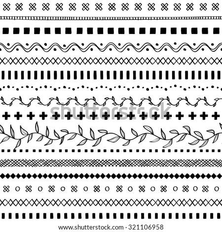 Hand drawn border lines decorative elements seamless - stock vector